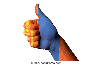 mongolia national flag thumb up gesture for excellence and achie
