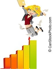 Business lady happy peak hopping graphics - Business lady...