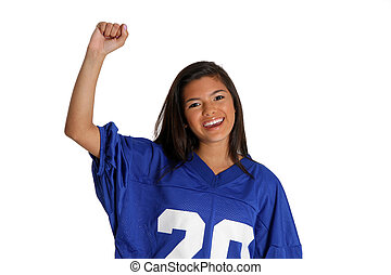 Cheering Fan - Teen cheering for her team in a jersey
