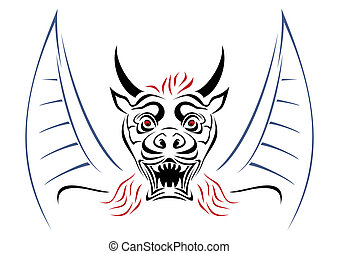 Devil on sketch - Illustration of devil with horns and wings