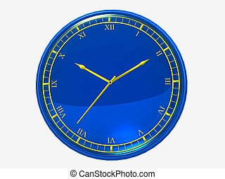dark blue wall clock with a goldish clock-face on a white...