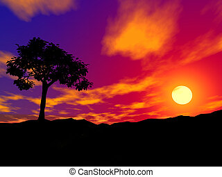 silhouette of a be single tree on sunset in rocky locality