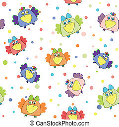 seamless vector pattern with multi-colored birds - seamless...