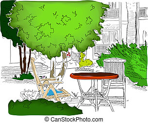 Cafe in the Garden. Partially colored version2 - Cafe in the...
