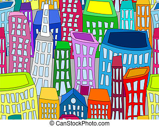 Seamless cityscape - Seamless pattern of colorful crooked...