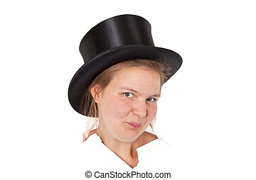 Stovepipe hat - Young woman with stovepipe hat - isolated