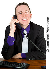 Conversational partner - Young man talking on the phone at...