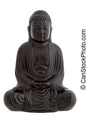 Black buddha figurine - isolated on white