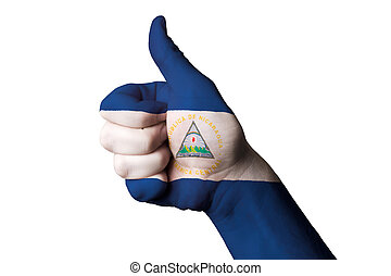nicaragua national flag thumb up gesture for excellence and achi