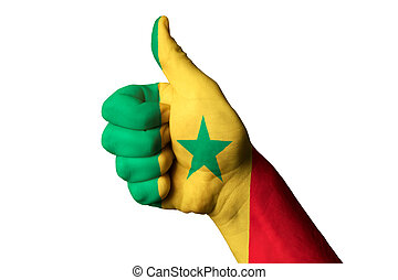 senegal national flag thumb up gesture for excellence and achiev