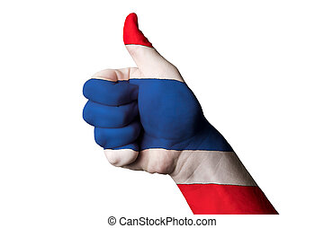 thailand national flag thumb up gesture for excellence and achie