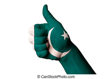 pakistan national flag thumb up gesture for excellence and achie
