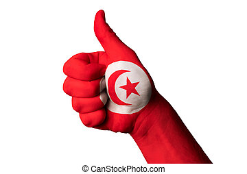 tunisia national flag thumb up gesture for excellence and achiev