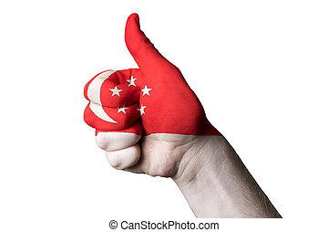 singapore national flag thumb up gesture for excellence and achi