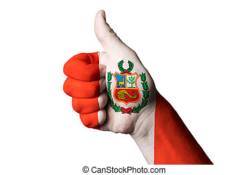 peru national flag thumb up gesture for excellence and achieveme