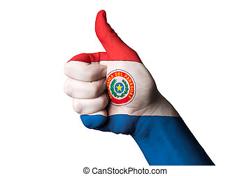 paraguay national flag thumb up gesture for excellence and achie