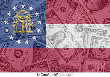 transparent united states of america state flag of georgia with dollar currency in background symbolizing political, economical and social government