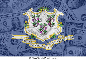 transparent united states of america state flag of connecticut with dollar currency in background symbolizing political, economical and social government