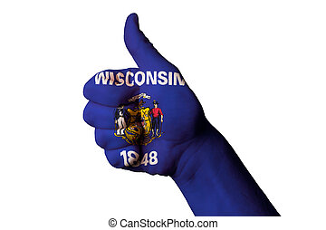 wisconsin us state flag thumb up gesture for excellence and...