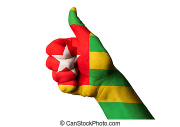 togo national flag thumb up gesture for excellence and achieveme
