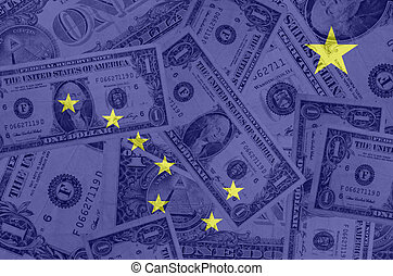 transparent united states of america state flag of alaska with dollar currency in background symbolizing political, economical and social government