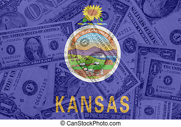transparent united states of america state flag of kansas with dollar currency in background symbolizing political, economical and social government
