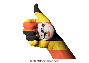 uganda national flag thumb up gesture for excellence and achieve