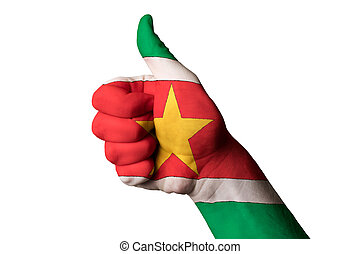 surinam national flag thumb up gesture for excellence and achiev
