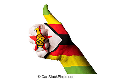 zimbabwe national flag thumb up gesture for excellence and achie