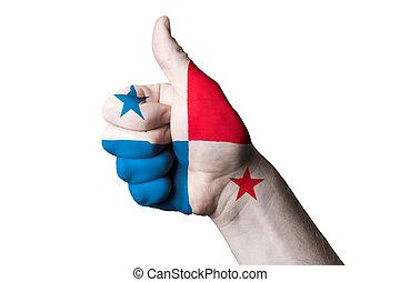 Panamá, nacional, bandera, pulgar, Arriba, gesto,...