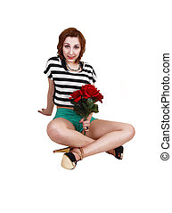Teen girl with roses.