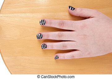 One teen girl hand.