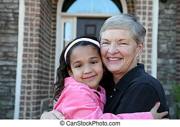 Grandfmother with Grandchild - Happy Senior Woman with...