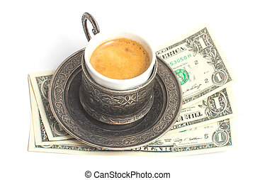 up of coffee with 3 dollars tip on white background