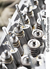 Close-up of automobile cylinder head - Close-up of opened...