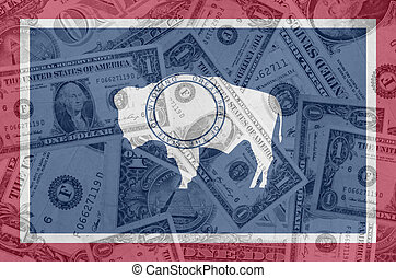 transparent united states of america state flag of wyoming with dollar currency in background symbolizing political, economical and social government