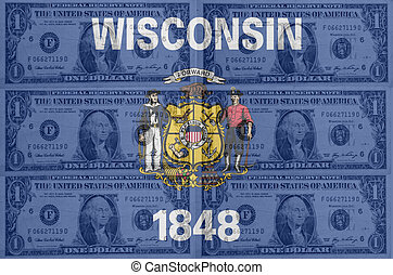 transparent united states of america state flag of wisconsin with dollar currency in background symbolizing political, economical and social government