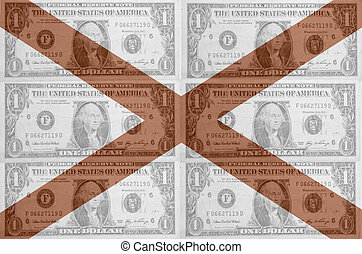 transparent united states of america state flag of alabama with dollar currency in background symbolizing political, economical and social government