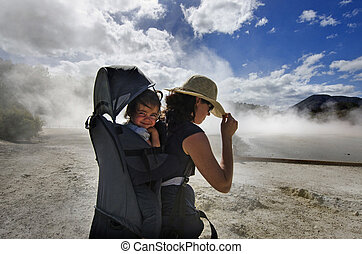 New Zealand -Travel Photos - A woman travel with her baby at...