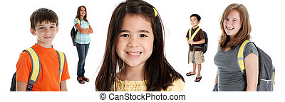 Students On White Background - Student children in colorful...