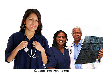 Hospital Staff - Minority doctor set on white background
