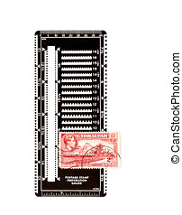 Postage stamp on perforation gauge - Red postage stamp of...