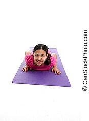 niña, postura,  yoga