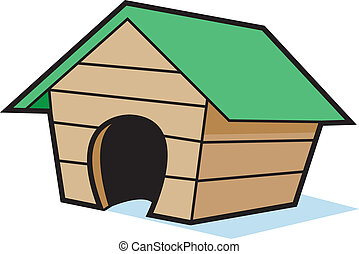 Cartoon doghouse - Cartoon illustration of a doghouse