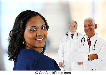 Hospital Staff - Group of doctors and nurses set on white...