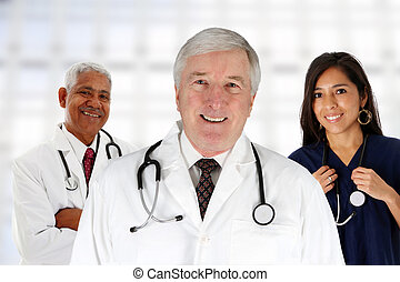Hospital Staff - Group of doctors and nurses set in a...