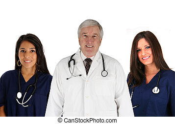 Hospital Staff - Group of doctors and nurses set on white...