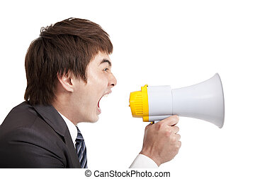 young Businessman screaming by megaphone