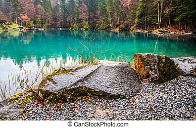 Blausee, Switzerland - Rock - Rock at the crystal clear...