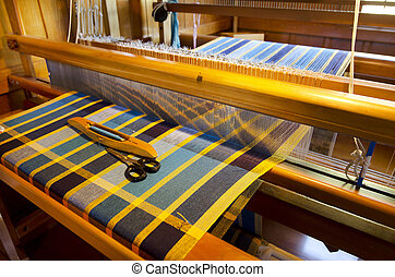 Craft and Art - Weaving - An homemade loom white threads and...